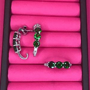 Jewelry - Chrome Diopside & White Topaz Ring/Earring Set (6)